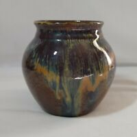 Earthy Nature Art Pottery 5 Inch Vase Unmarked Brown / Blue / Green