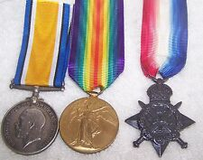 SET OF THREE WORLD WAR 1   MEDALS  AWARDED TO A.J. GREY