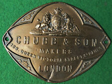 CHUBB & Son SAFE & Lock Co. London OLD BRASS Safe Chubbsafes Maker's Logo Plaque