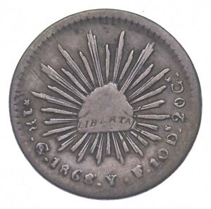 SILVER Roughly the Size of a Nickel 1868 Mexico 1 Real World Silver Coin *449