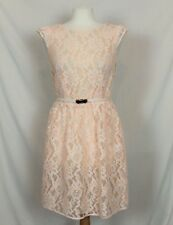 Oasis White Peach Orange Floral Lace Skater Flare Tea Dress Belt size 10