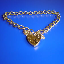 9ct GOLD HALLMARKED BRACELET WITH HEARTLOCK & SAFETY CHAIN. WEIGHS 9.7g