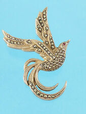 Vintage Solid Silver Marcasite Bird of Paradise Brooch - Red eye  c1930s