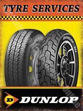 Vintage Garage Dunlop Tyres, 58 Car & Motorbike Motorcycle, Small Metal Tin Sign