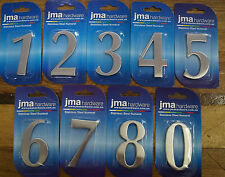 House Letter Box Number Silver Stainless Steel 65mm Self Adhesive each