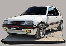 MINIATURE, MODEL CARS, PEUGEOT 205 GTI, Peugeot 205GTI BLANCHE en horloge