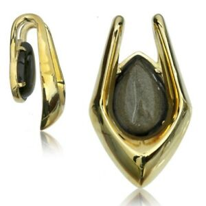 """PAIR 3/4"""" INCH EAR WEIGHTS BRASS & STONE GAUGES EARRINGS PLUGS TALONS PLUGS"""