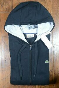 Lacoste SH1613 Mens Black Fleece Cotton Hooded Jacket Hoodie Big & Tall XLB 8R
