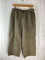 Eileen Fisher Women's Small Elastic Waist Wide Leg Linen Pants Lagenlook Brown