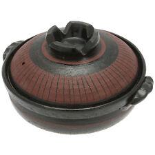 1 x Kotobuki 9-3/4-Inch Donabe Japanese Hot Pot, Medium, Black/Maroon #190-901D