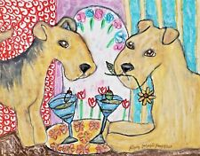 Lakeland Terrier drinking a Martini 5x7 Dog Art Print Vintage Style Artist Ksams