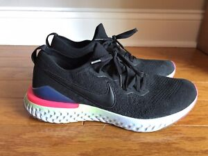 Mens Nike Epic React Flyknit Running Shoes, Black and Pink, Size 11 Excellent