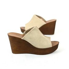 Mariella Italy Leather Wedge Heels Tan Size 9 Suede