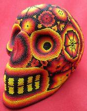 Huichol Tribe Mexican Folk Art Life-Sized Beaded Skull With Fiery Sacred Designs