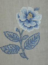 "SANDERSON CURTAIN FABRIC DESIGN ""Emeline"" 13.7 METRES EMBROIDERED BLUE/IVORY"