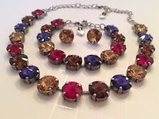 Swarovski Crystal Elements Multi Color Antique Silver Cup Chain 12mm Jewelry Set