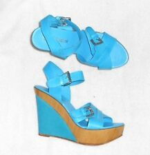 LOLA ESPELETA sandales compensées cuir bleu turquoise P 39 = 38½ TBE