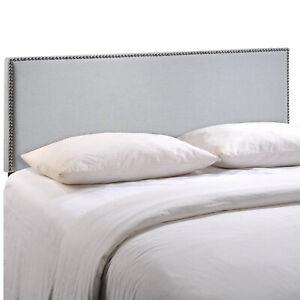 Region Full Nailhead Upholstered Headboard - Sky Gray
