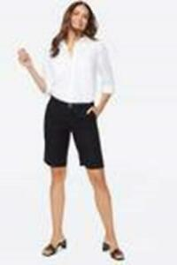 NWT NYDJ Not Your Daughters Jeans Black Linen Blend Bermuda Shorts 18W $79 new