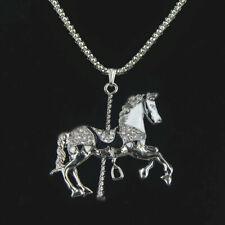 Nuevo Collar Largo Cadena De Plata Del Rhinestone del grano caballo de carrusel encanto colgante regalo