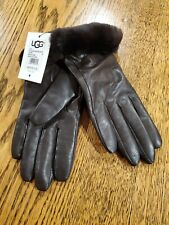 Ugg Medium Gloves Dark Brown Leather Wool