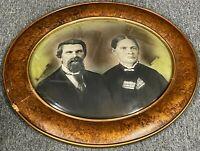 """Vintage 21"""" Antique Bubble Glass Creepy Wild West Couple Portrait Oval Photo"""