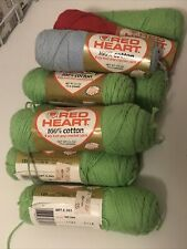 VINTAGE LOT Red heart 100 Percent Cotton Yarn Lime Green Baby Blue Red 1960's