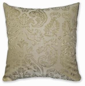 HC603a Pale Tan Beige Floral Jacquard Soft Cotton Cushion Cover/Pillow Case