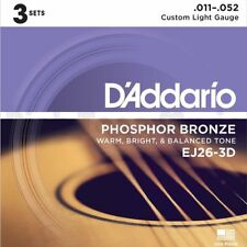 D 'Addario EJ26-3D 3 Paquete de 11-52 personalizado de luz de bronce fosforoso