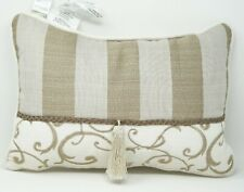 "Croscill Anessa Boudoir 18"" x 12"" Striped Decorative Pillow with Tassel - Beige"