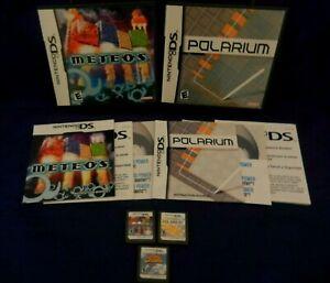 Nintendo DS; Meteos, Polarium, w /Manuals, Inserts, Cookie & Cream, VG, Tested