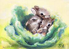 ACEO print my painting wildlife art baby bunnies bunny rabbit animal ATC cabbage