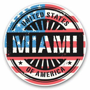 2 x Vinyl Stickers 15cm - Miami Florida USA American Flag  Cool Gift #6068