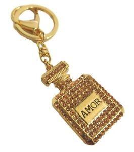 Creative Rhinestone Parfum Perfume Crystal Keyring Keychain Birthday Gift