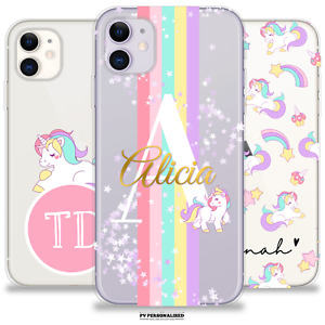 PERSONALISED PHONE CASE NAME UNICORN CLEAR COVER FOR APPLE IPHONE 11 12 XR 7 6S