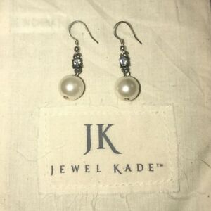 Jewel Kade Drop Pearl Earrings with Crystal.  NEW