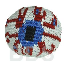 EyeBall  Stripes Guatemalan Footbag Red White Black Blue Hacky Sack New HS6