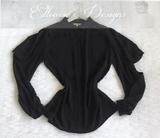 NEW! VERONIKA MAINE BLACK CREPE CHIFFON LONG SLEEVE BLOUSE TOP SHIRT SIZE 12