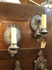 Pair of Circa 1920 Hand-Painted Floral Art Deco Single Light Wall Sconces