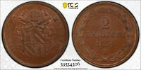 PCGS MS-63 PAPAL STATES ITALY 2 BAIOCCHI 1851 -R (ANNO V) COMBINED POP: 1/0