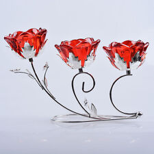 LONGWIN Crystal Flower 3 Arms Wrought Iron Candle Holder Glass Candlestick