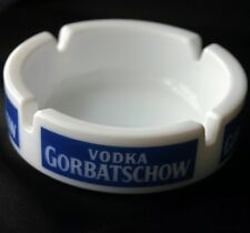 Vintage VODKA GORBATSCHOW Advertising Glass Ashtray
