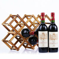 Wooden Red Wine Rack 5/6/10 Bottle Holder Mount Bar Display Shelf Folding R Pw