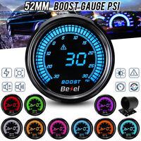 "2"" 52mm Digital LED Display Turbo Boost Pressure Gauge Kit Car Meter 30Psi 12V"