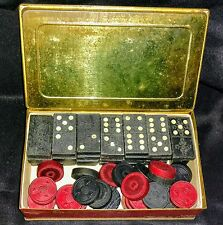 Vintage Wood Dominoes And Checkers In Schraffts Chest