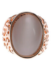 Vintage Large Oval Face Opal Cutout Sized Fashion Ring Adjustable Finger Band