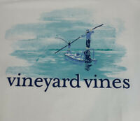 Vineyard Vines Mens Fly Fishing Day On The Flats S/S White Pocket T-shirt Sz 2XL