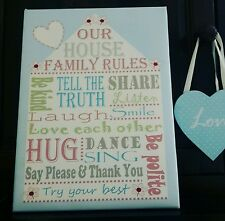 PERSONALISED HOUSE FAMILY RULES A3 canvas GIFT / WEDDING / ANNIVERSARY GIFT