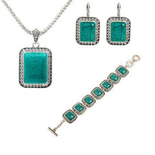Women Fashion Luxury Sets Earrings Bracelet Necklace 1Pcs Turquoise New Jewelry