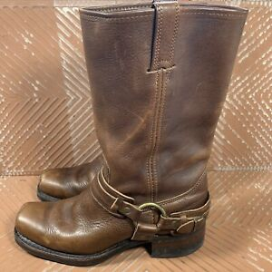 Frye Belted Harness Boot Distressed Leather Brown Women's 9 M 213235-700